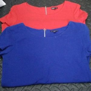 2 express tops red and blue